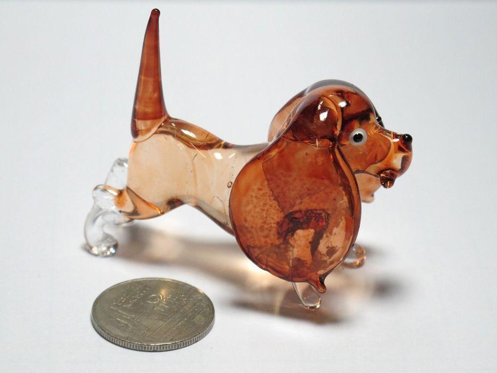 Craft Collectible MINIATURE HAND BLOWN GLASS Brown Dog FIGURINE Animals