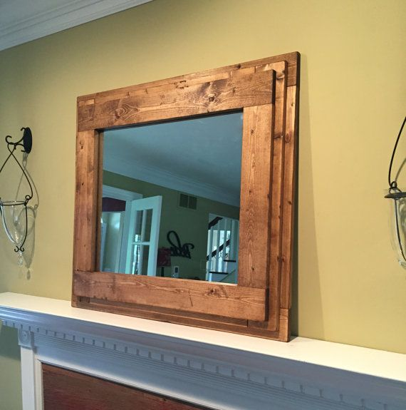 The Farm House Mantel Vanity Bathroom Mirror Handmade Rustic Inspired Wooden Mirror With A Thick Frame Perfect For Over The Fireplace Mirror Frame Diy Wooden Mirror Frame Rustic Mirrors
