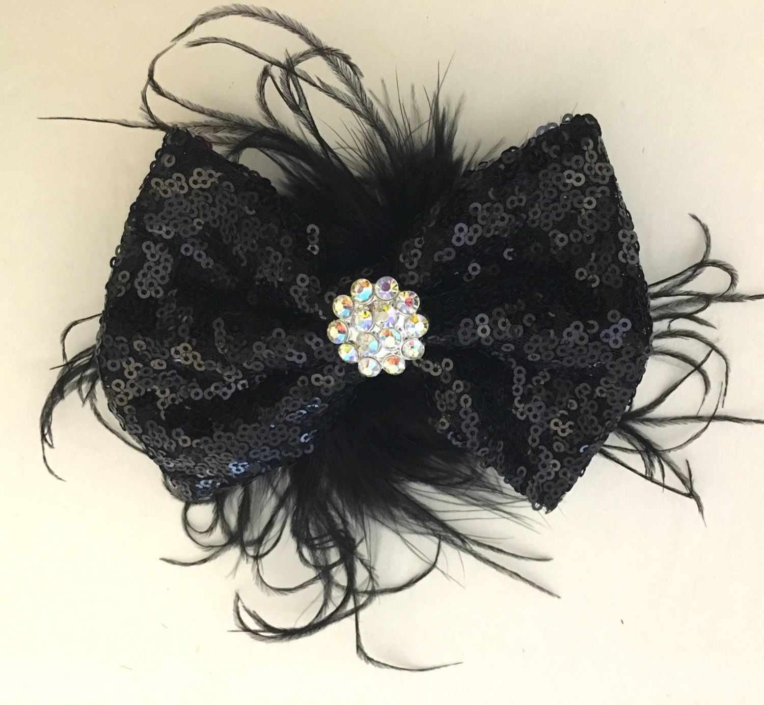 Silver Feather Hair Bow, Dance Costume Hair