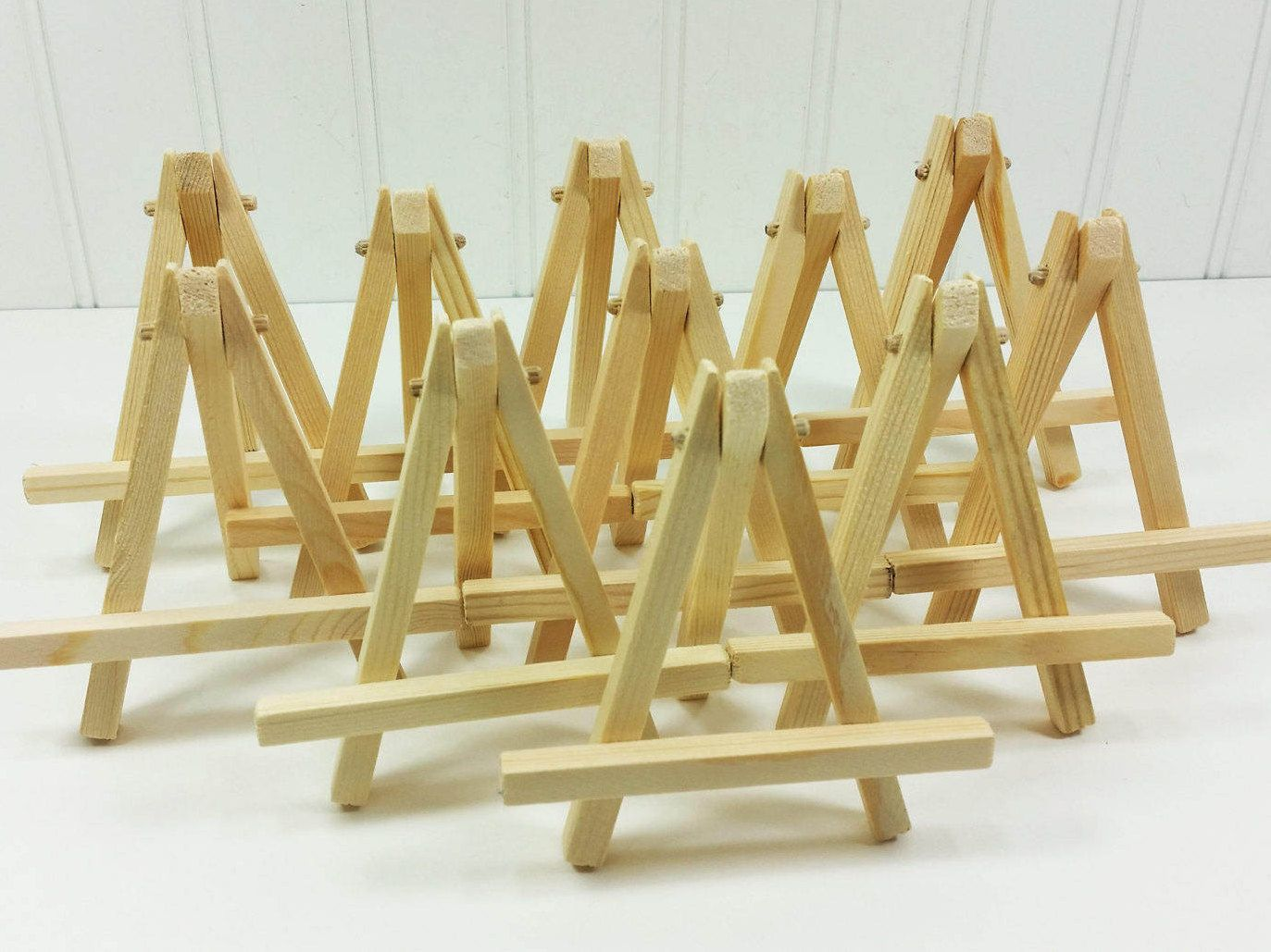 10 Small Wood Easels Natural Tabletop For Miniature Art Place Cards Table Number By Natureswalkstudio On Etsy