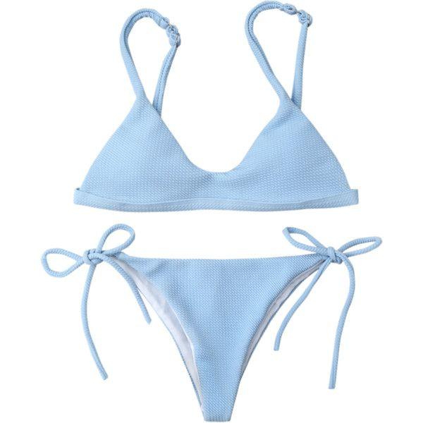 9b33480385a9 Textured Tie Side String Scoop Bikini Set ($14) ❤ liked on Polyvore  featuring swimwear, bikinis, string bikini, string swimwear, scoop-neck  bikinis, ...
