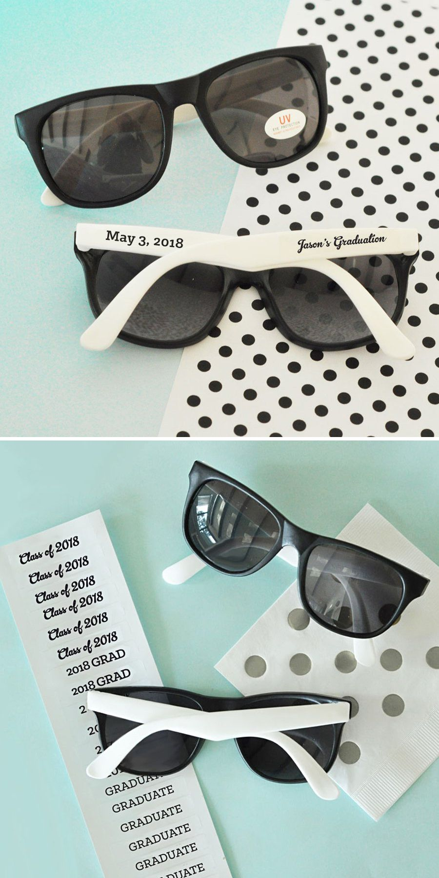 7e8845e3b589 ... Wayfarer style graduation party sunglasses are personalized with clear  labels (affixed separately) with your choice of custom text and imprint  color.