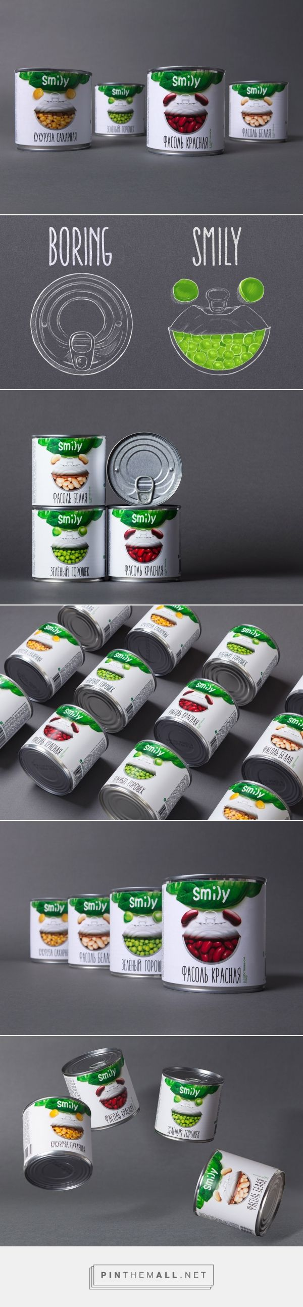 Smily Canned Goods packaging design by Gordost (Russia) - http://www.packagingoftheworld.com/2016/09/smily-canned-goods-positive-nature.html