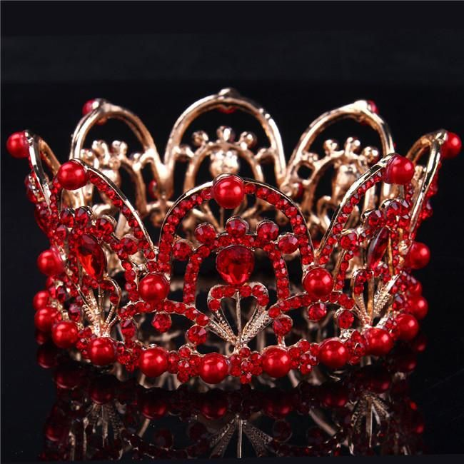 Pearls Bridal Wedding Tiaras Crowns Hot Selling Cheap Forehead Jewelry Red Rhinestones Beautiful Party Acessorios Para