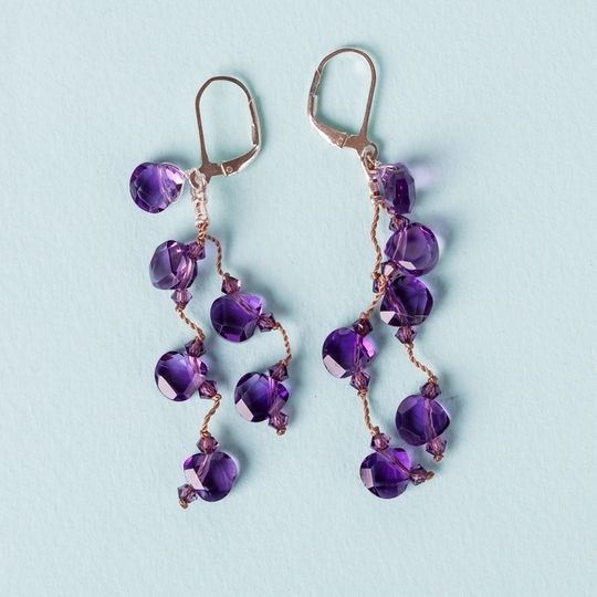 Wisdom Rhythm Earrings, faceted amethyst teardrops, sterling silver & nylon @sneakpeeq.com $135