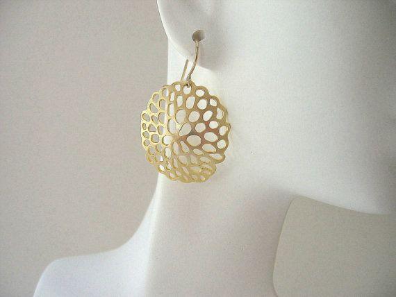 Large Gold Earrings by JulianaWJewelry on Etsy, $22.00