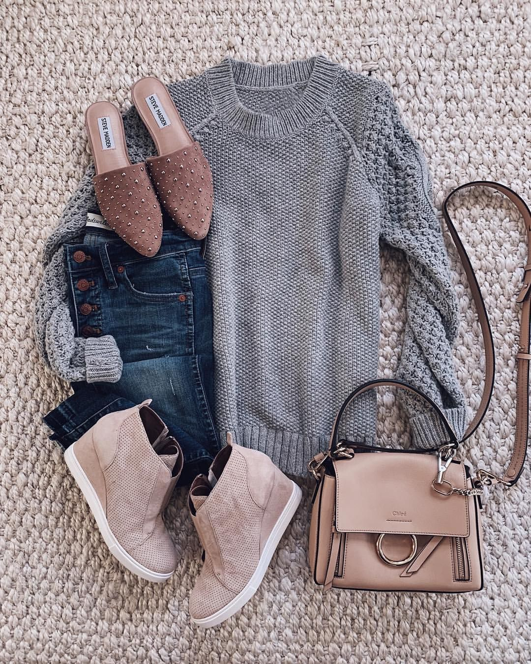 5280056a16f81 Both shoes! Errands and an event. Simple jeans and sweater are cute ...