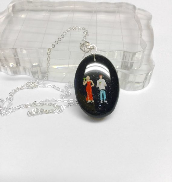 Cocktail party diorama pendant 925 sterling silver by IsolaArt