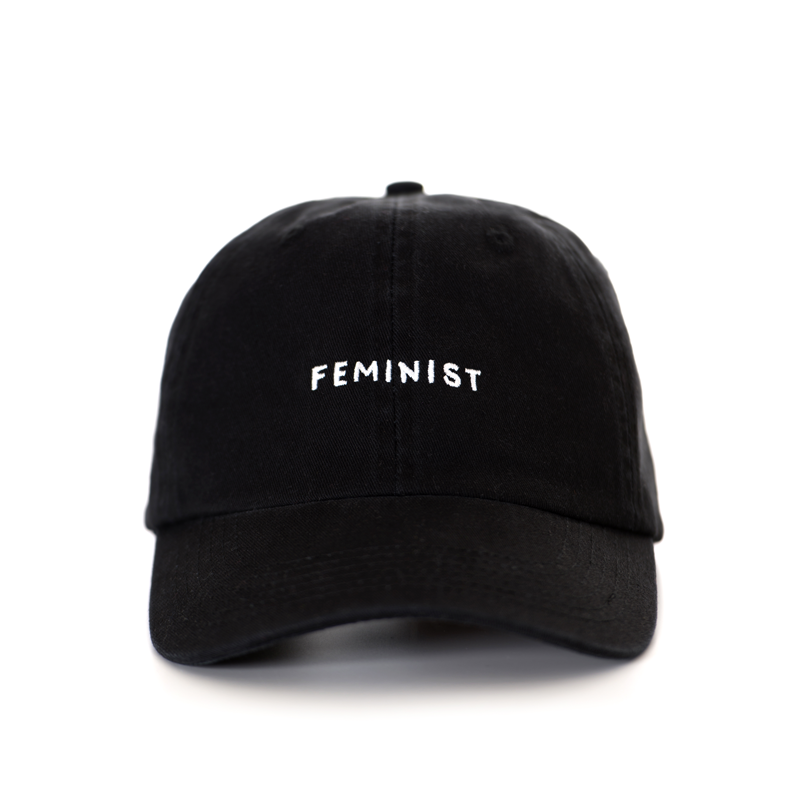 Front Feminist Back Blank Original Design By Seltzer Goods White Embroidery On Black Hat One Size Fits Most Embroidered I Cute Caps White Embroidery Cap