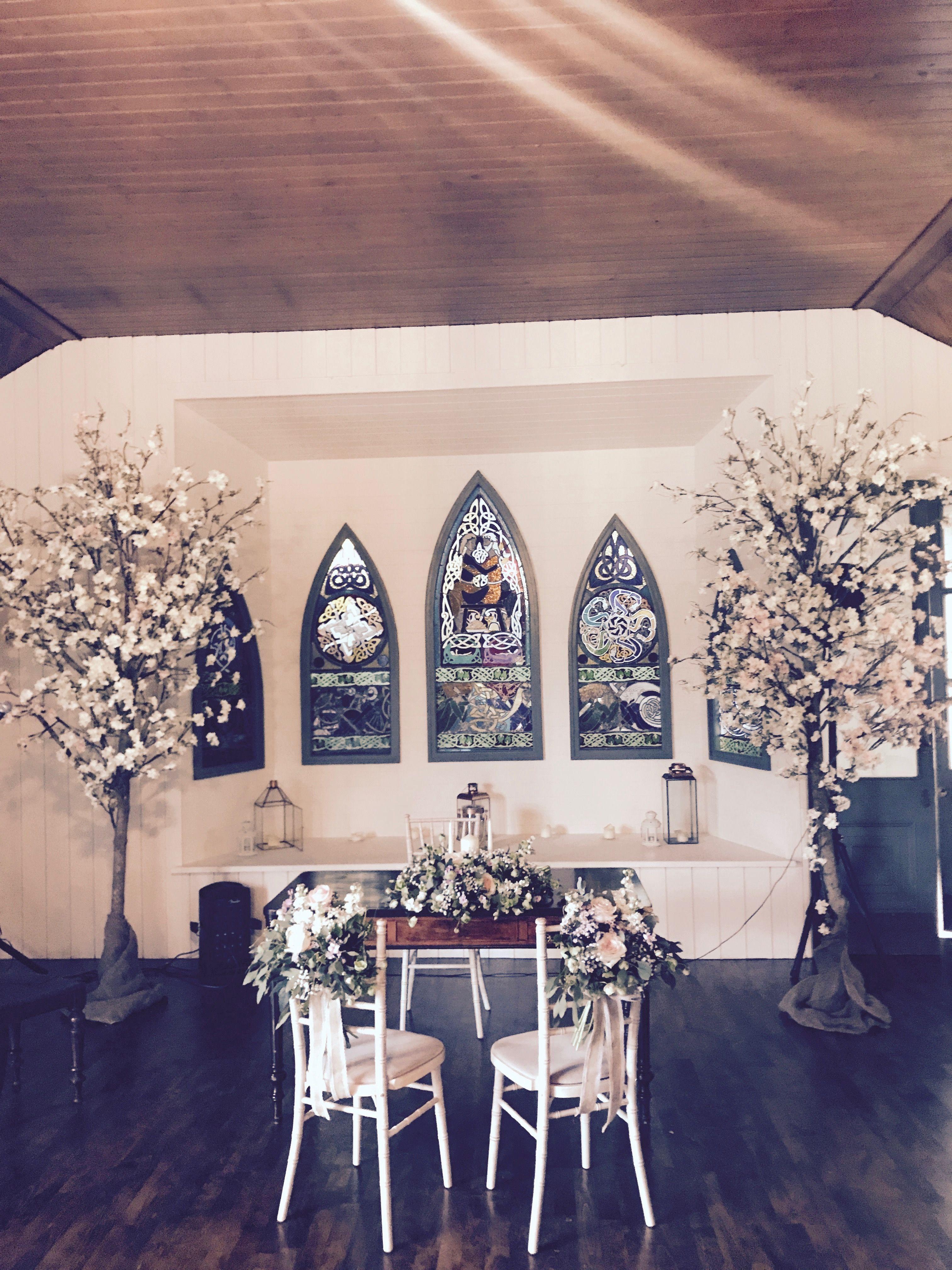 Wedding Ceremony Room Cherry Blossoms Bride Groom Chair Decor