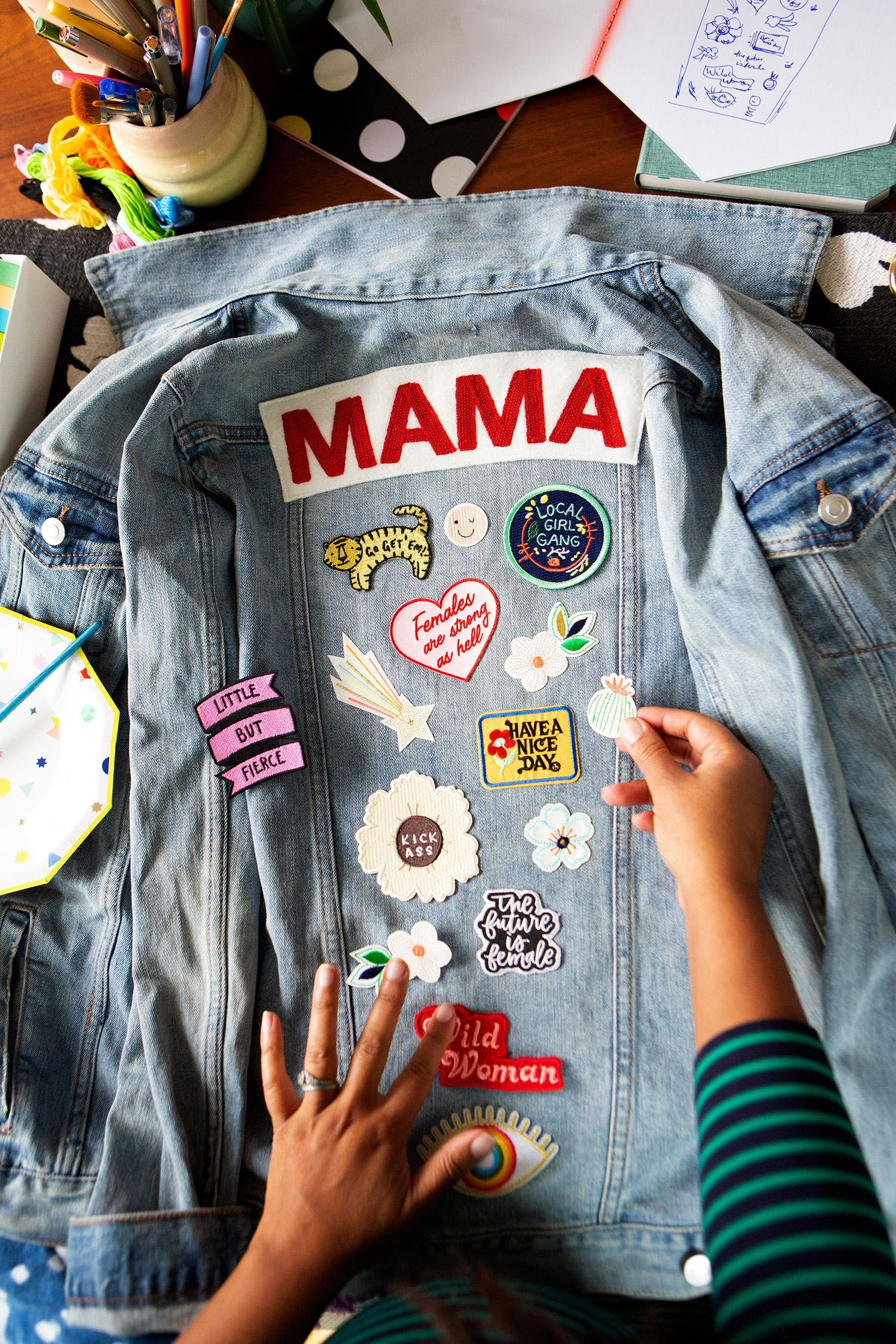 Diy Matching Mama Babe Denim Jackets In 20 Minutes Using Nothing But Patches Brit Co Denim Jacket Denim Jacket Patches Diy Jacket [ 2475 x 1650 Pixel ]