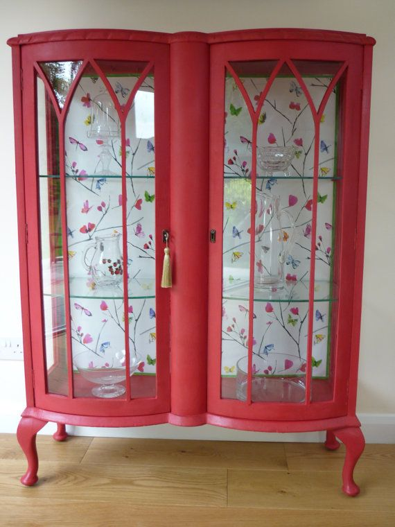 Beautiful Red Bow Fronted China Cabinet By