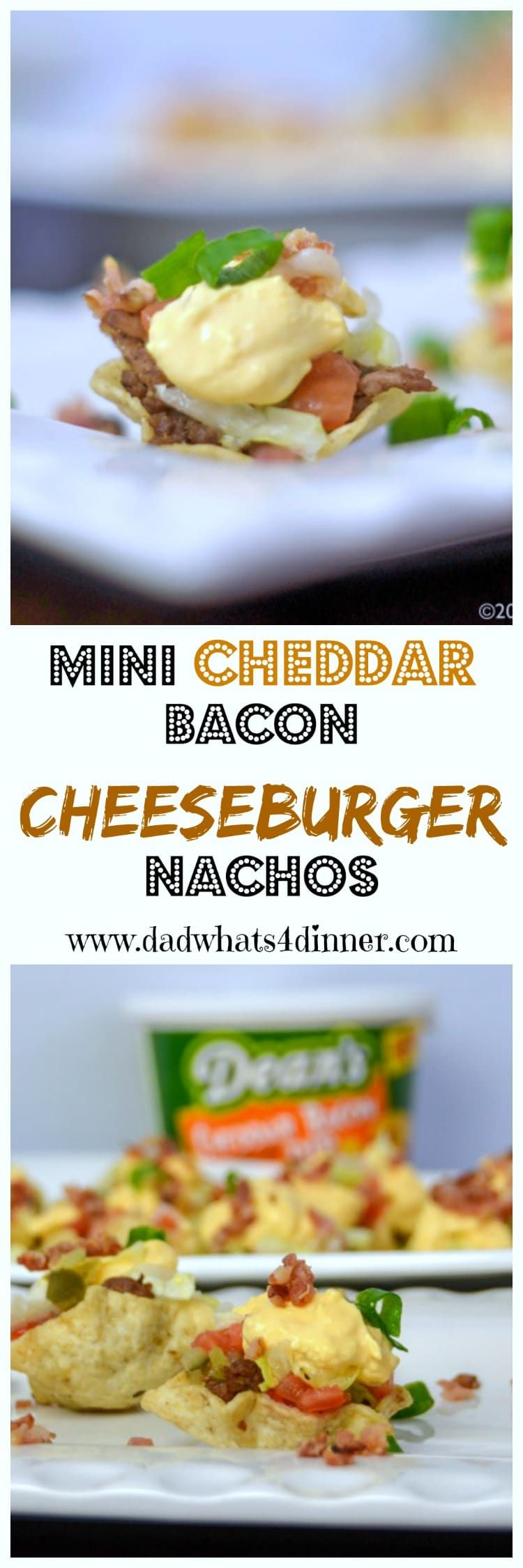 When you are craving the flavors of a cheeseburger but want finger foods instead, then my Mini Cheddar Bacon Cheeseburger Nachos are sure to please. The perfect appetizer forthe Big Game! #ad #DeansDreamBig #Gameday #appetizer #cheeseburgers #nachos #dips #tailgating #Easy #Recipe @sofabfood www.dadwhats4dinner.com via @dadwhats4dinner