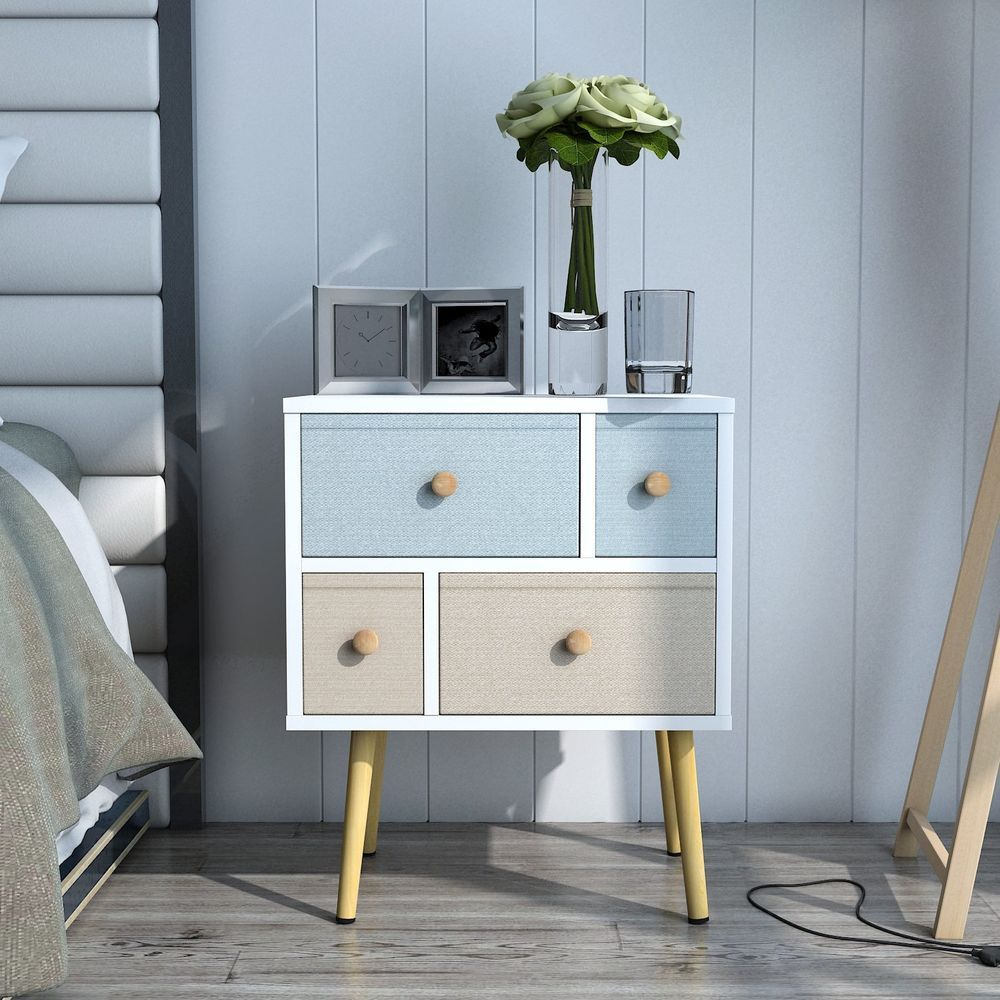 Lifewit Modern Nightstand Side End Table For Bedroom Living Room Sitting Room With 4 Drawers White Lif Bedroom Night Stands Side Tables Bedroom Bedroom Table #side #table #with #storage #for #living #room