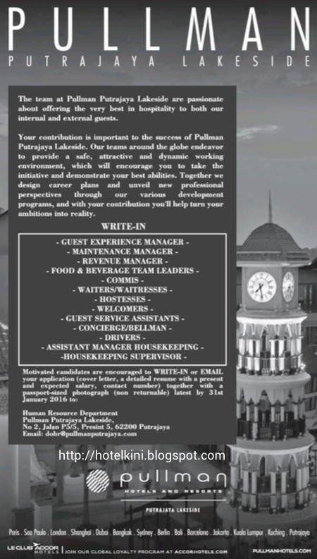 Pullman Putrajaya Lakeside Hotel Jobs Vacancies 2016 Jawatan – Housekeeping Supervisor Salary