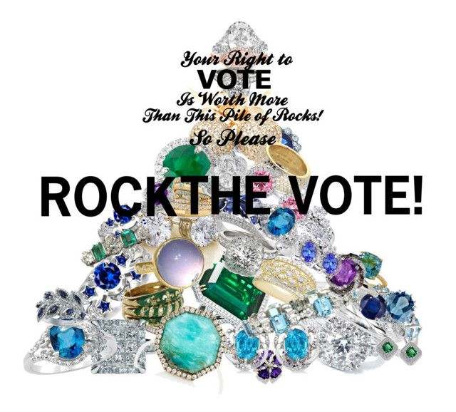 """""""ROCK THE VOTE!"""" by vintagefrenchlinens ❤ liked on Polyvore featuring art and rockthevote"""