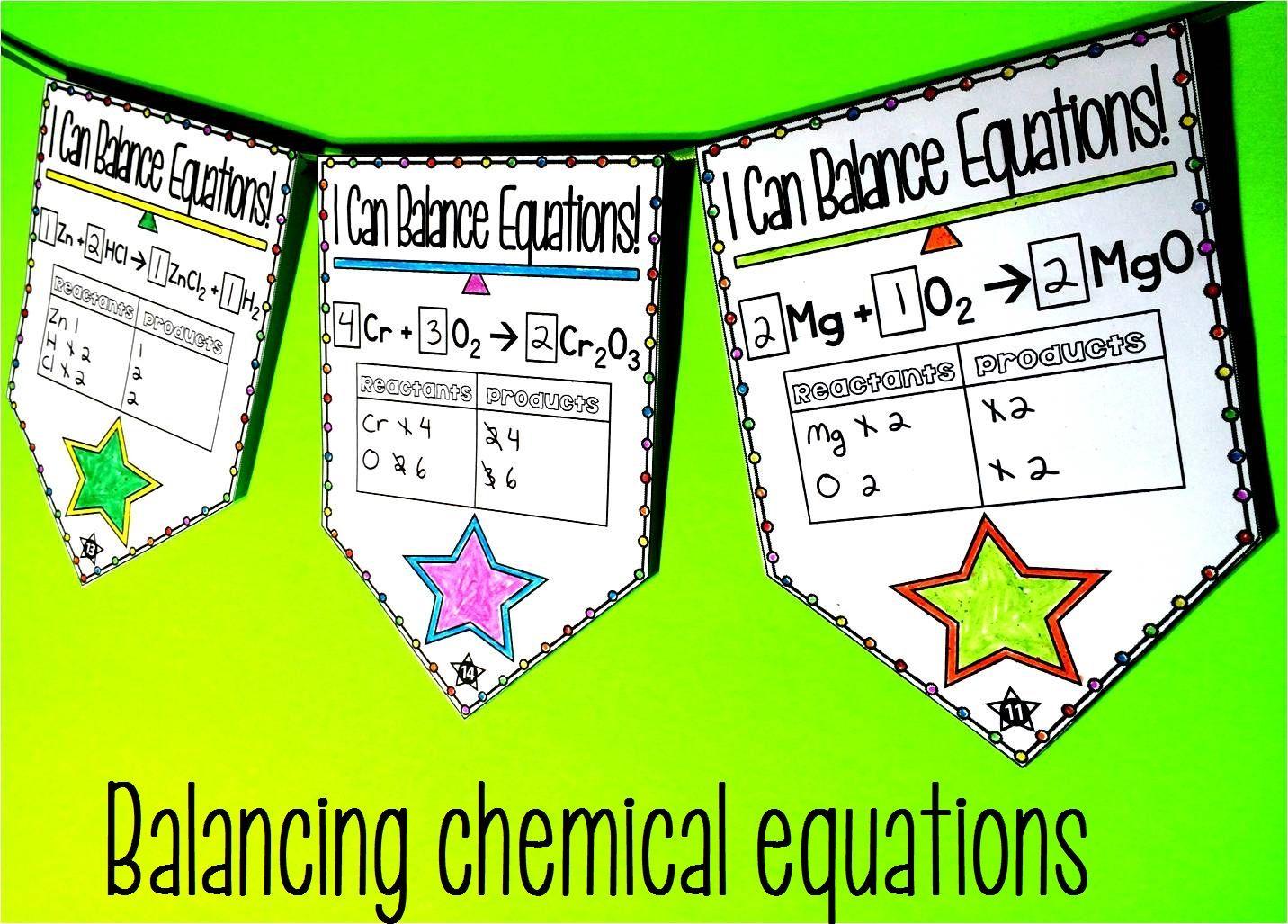 Balancing Chemical Equations Pennant Activity