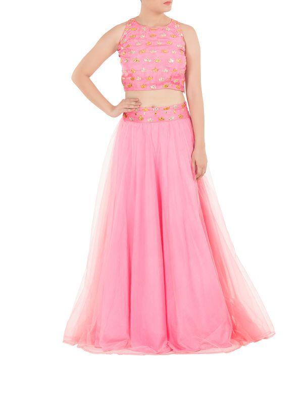 Candy Pink Crop Top and Lehenga | Esha Koul | Pinterest | Designer ...