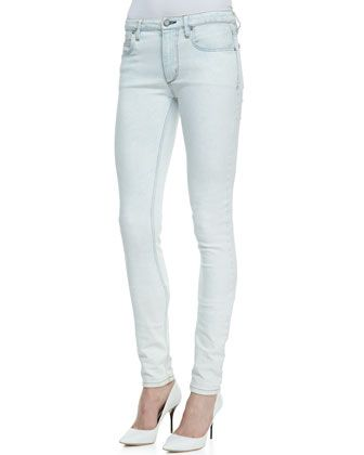 Theory Tatia Cropped Lambskin Vest, Canaan Mixed-Fabric Sweater & Billy N Light-Wash Skinny Jeans - Neiman Marcus