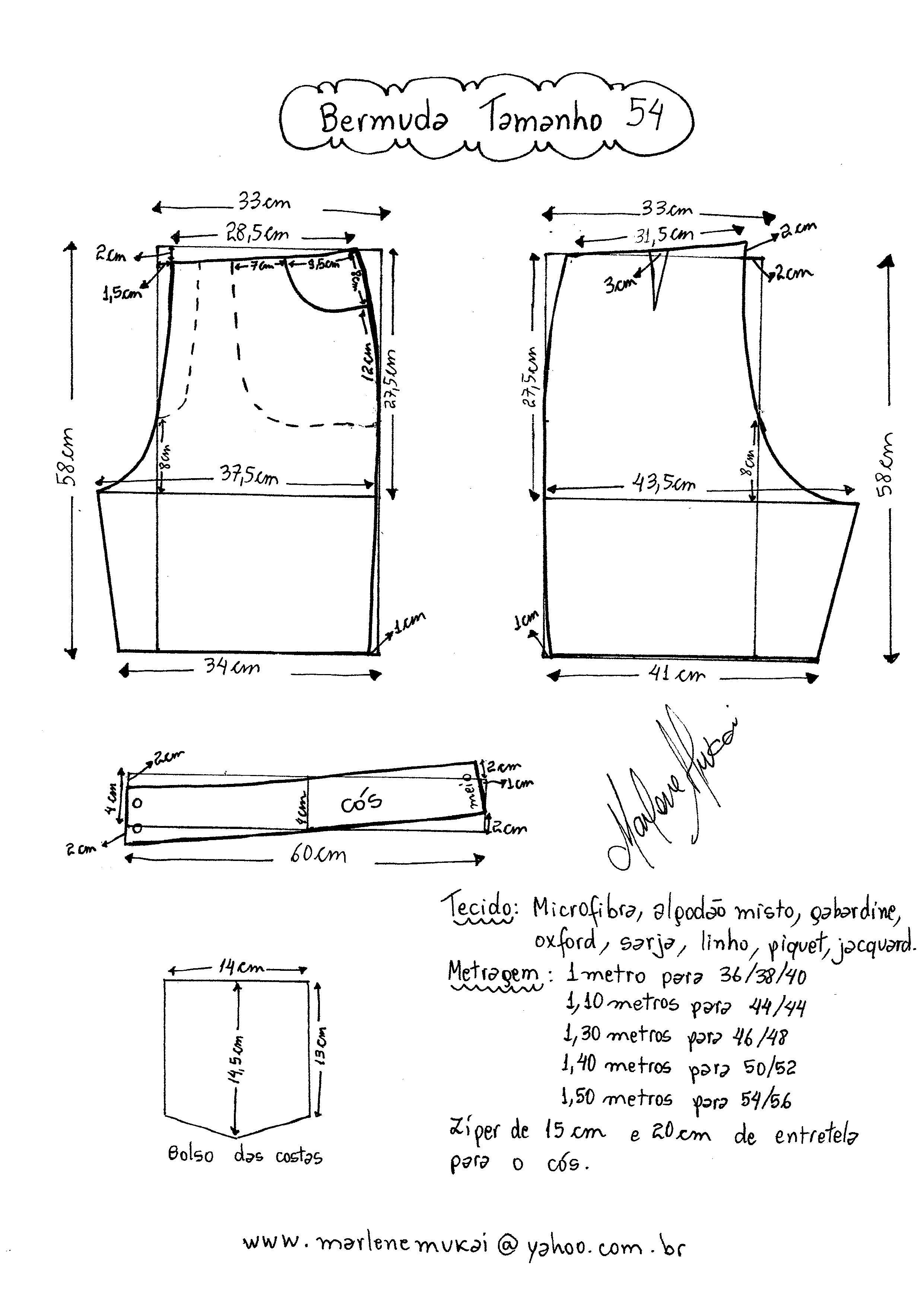 Esquema para molde de bermuda tamanho 54. … | moda y costura | Pinte…