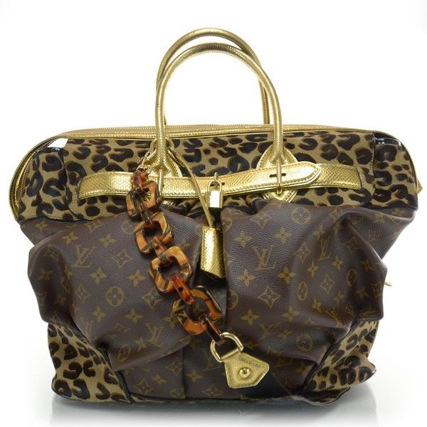 Fashionphile - LOUIS VUITTON Monogram Leopard Pleated Steamer Bag ❤ liked on Polyvore