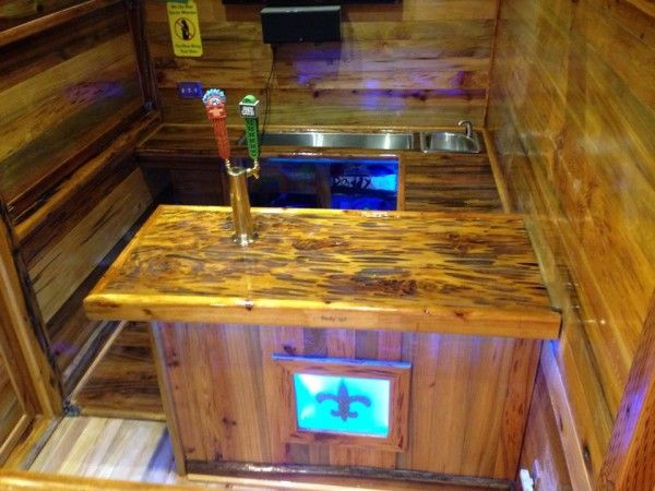 Man Cave On Wheels : Man builds portable tavern tiny house on a trailer men cave