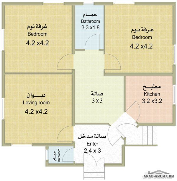مخطط بيت صغير مساحة البناء 96 متر مربع Arab Arch Hotel Floor Plan Hotel Floor Floor Plans