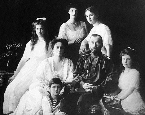 Russia's Tsar Nicholas II, Alexandra and their children.