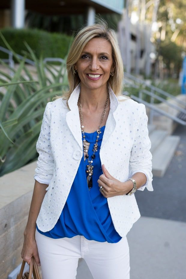 c6dce00074fe White Eyelet Jacket Styled With Royal Blue Off The Shoulder Top