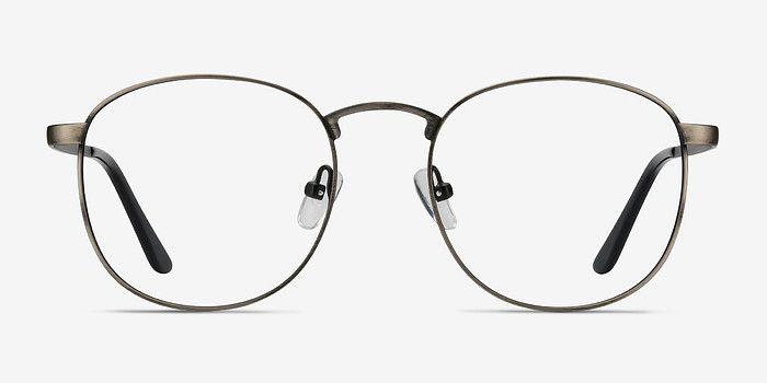 1ab5b44e0e17 Gunmetal Square Prescription Eyeglasses-Small Full-Rim Metal Eyewear ...