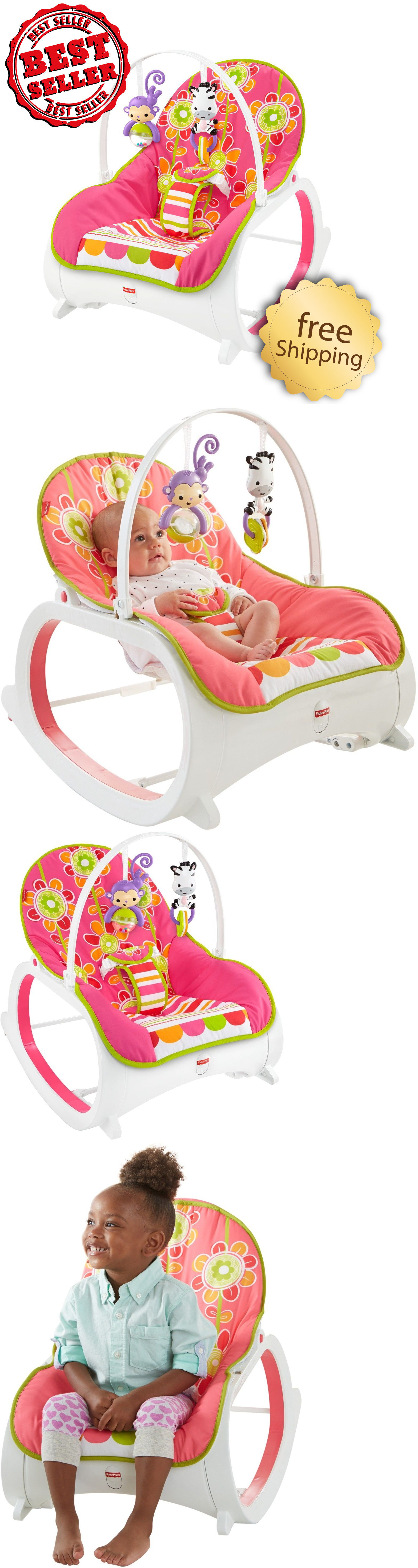 Baby pink baby chair infant to toddler rocker bouncer seat sleeper