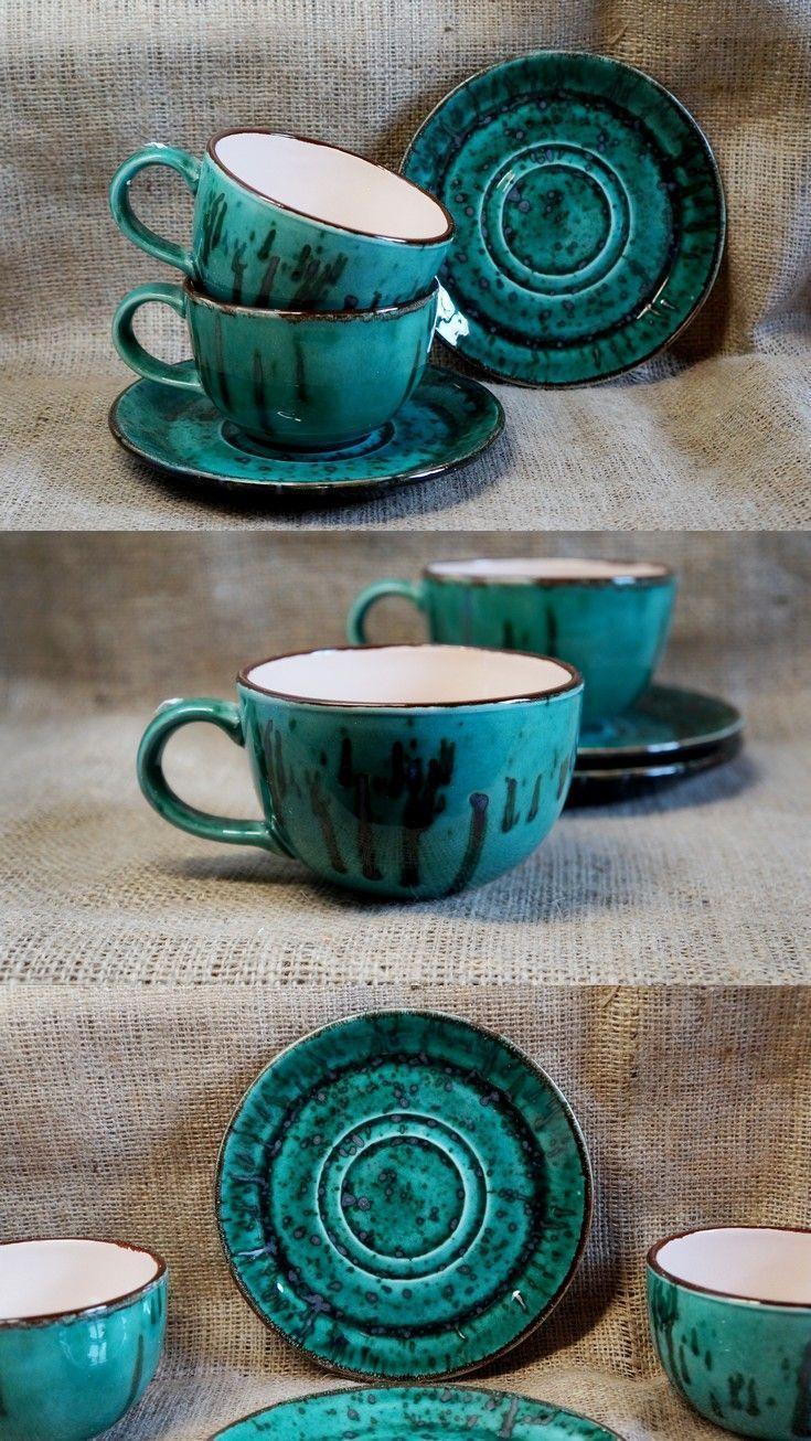 $32.32 Ceramic mug with saucer Tea set Coffee lovers gift Green gift ...