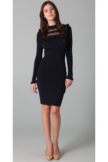RED Valentino Long Sleeve Knit Dress with Lace Detail - Lyst