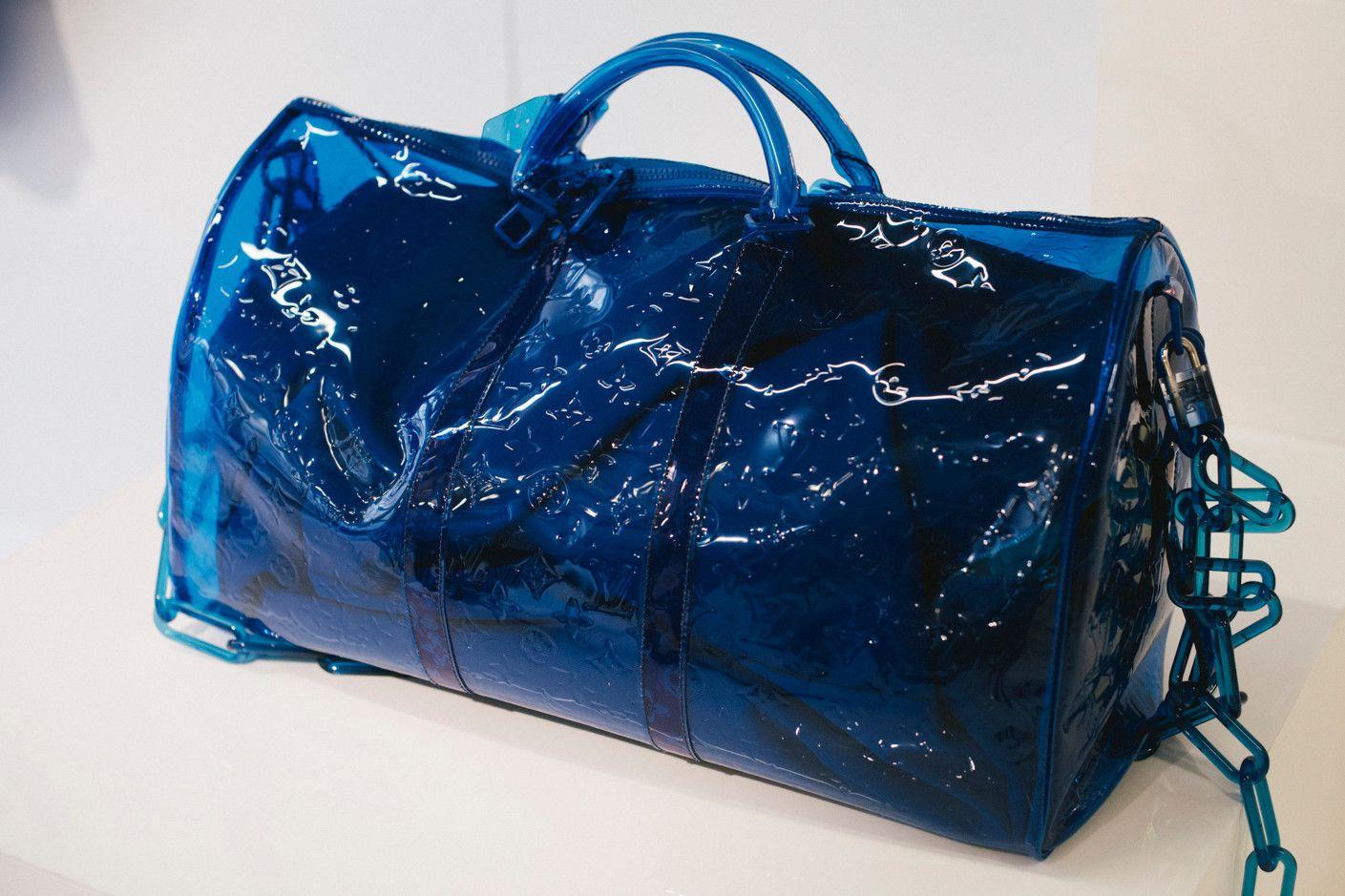 bbe7807bd172 Virgil Abloh Louis Vuitton Spring Summer 2019 Transparent Keepall Bag Blue