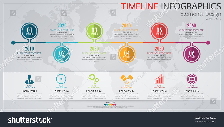 Modern business horizontal timeline process chart