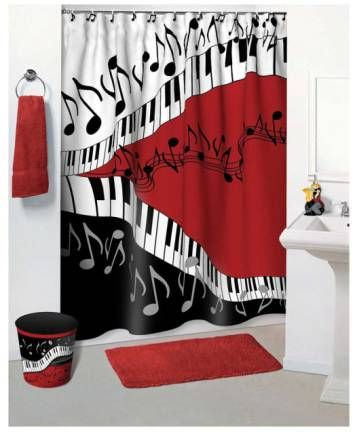 Musical Shower Curtain For My Home Want White Bathroom