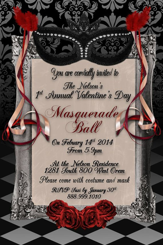 Valentines Day Adult Masquerade Ball 4x6 Instant By WriteontheDot 1200