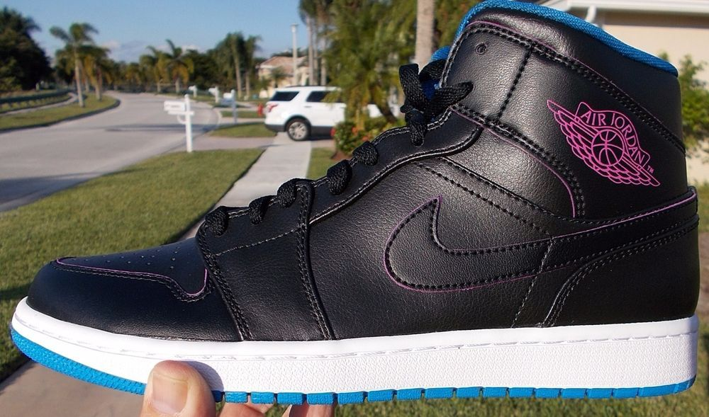 Nike Air Jordan 1 Mid Black   FIRE PINK PHOTO BLUE Size 10 NEW no box. S EE  ALL PHOTOS FOR DETAILS. FOR SALE.  968abd685