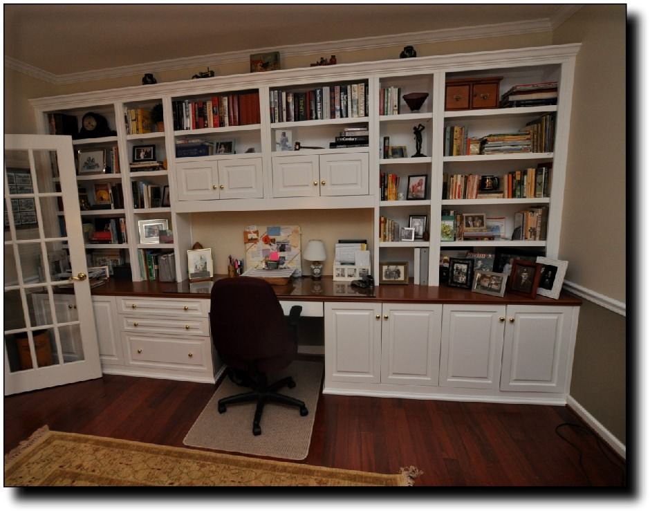 Built In Desk And Cabinets | Custom Built Home Office Desk Cabinets In  Fairfax Station,
