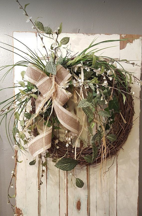 Front Door Wreath Farmhouse Wedding Wreath Burlap Wreath Greenery
