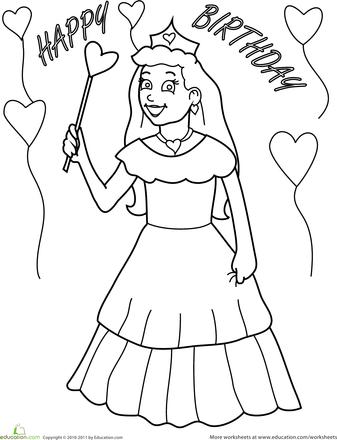Birthday Coloring: Princess | Happy birthday princess ...