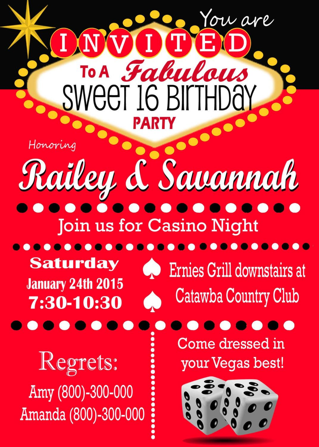 Outstanding Las Vegas Themed Birthday Invitations Festooning ...