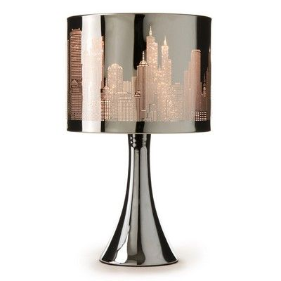 This Stainless Steel City Scene Touch Lamp Is Perfect Way To Light Up Any Room This Table Lamp Features A Brilliant To Touch Lamp Touch Table Lamps City Decor