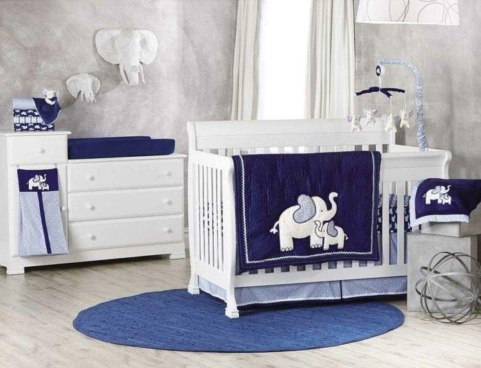 Herrliches Modell Babybett Weiß Dunkel Blaue Bettwäsche