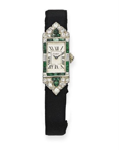 Cartier Art Deco Wristwatch - c. 1925 - by Cartier - Emerald and Diamond - Christie's