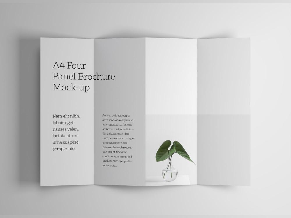 A4 Four Panel Brochure Mockup Brochure design template