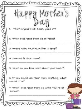 Mother's Day Questionnaire, Survey and Poem (MUM edition