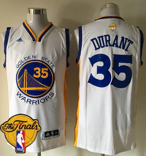 1473212fb Warriors  35 Kevin Durant White Home The Finals Patch Stitched NBA Jersey