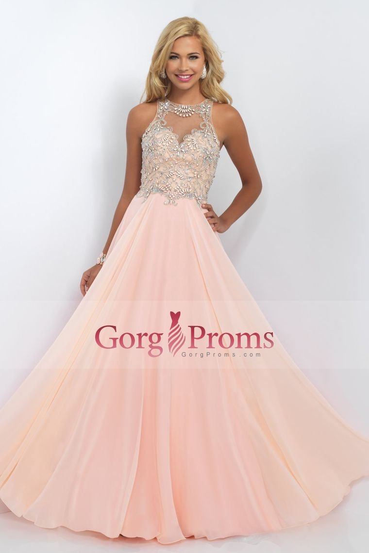 scoop a line prom dresses chiffon with beading floor length