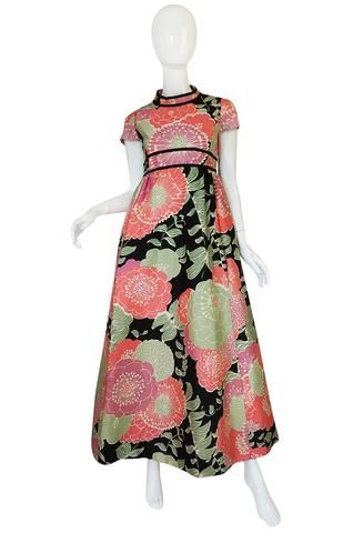 1970s Malcolm Starr Pastel Floral Covered Silk Hostess Dress
